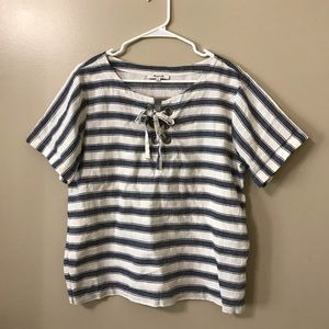 Madewell stripe lace up blouse